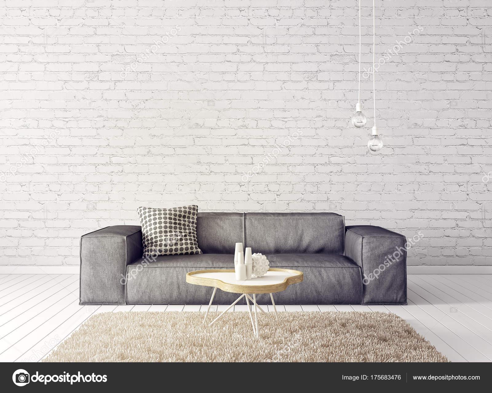 Modern White Living Room Grey Sofa Lamp Scandinavian Interior Design ...