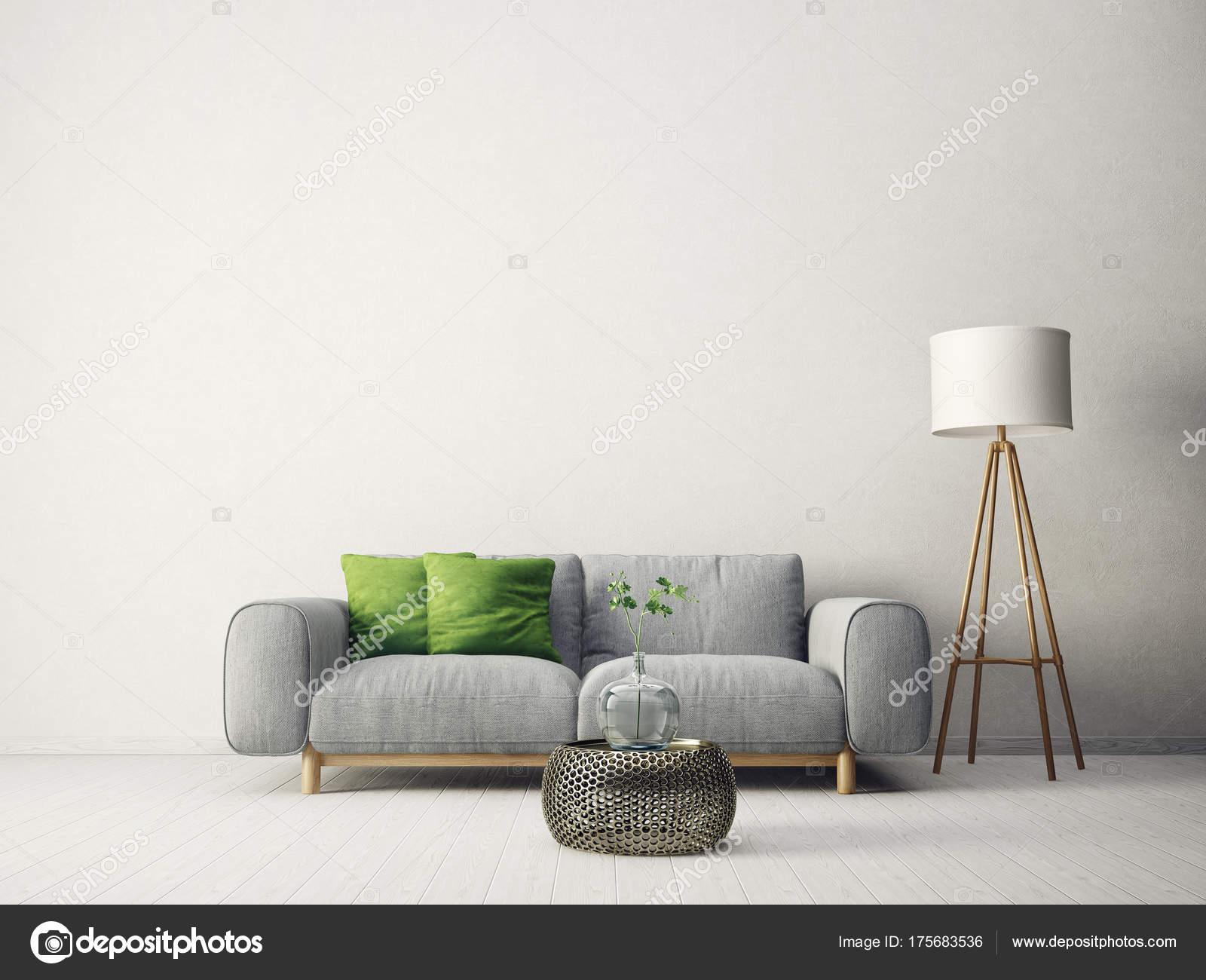 Modern Living Room Sofa Green Pillow Lamp Scandinavian Interior ...