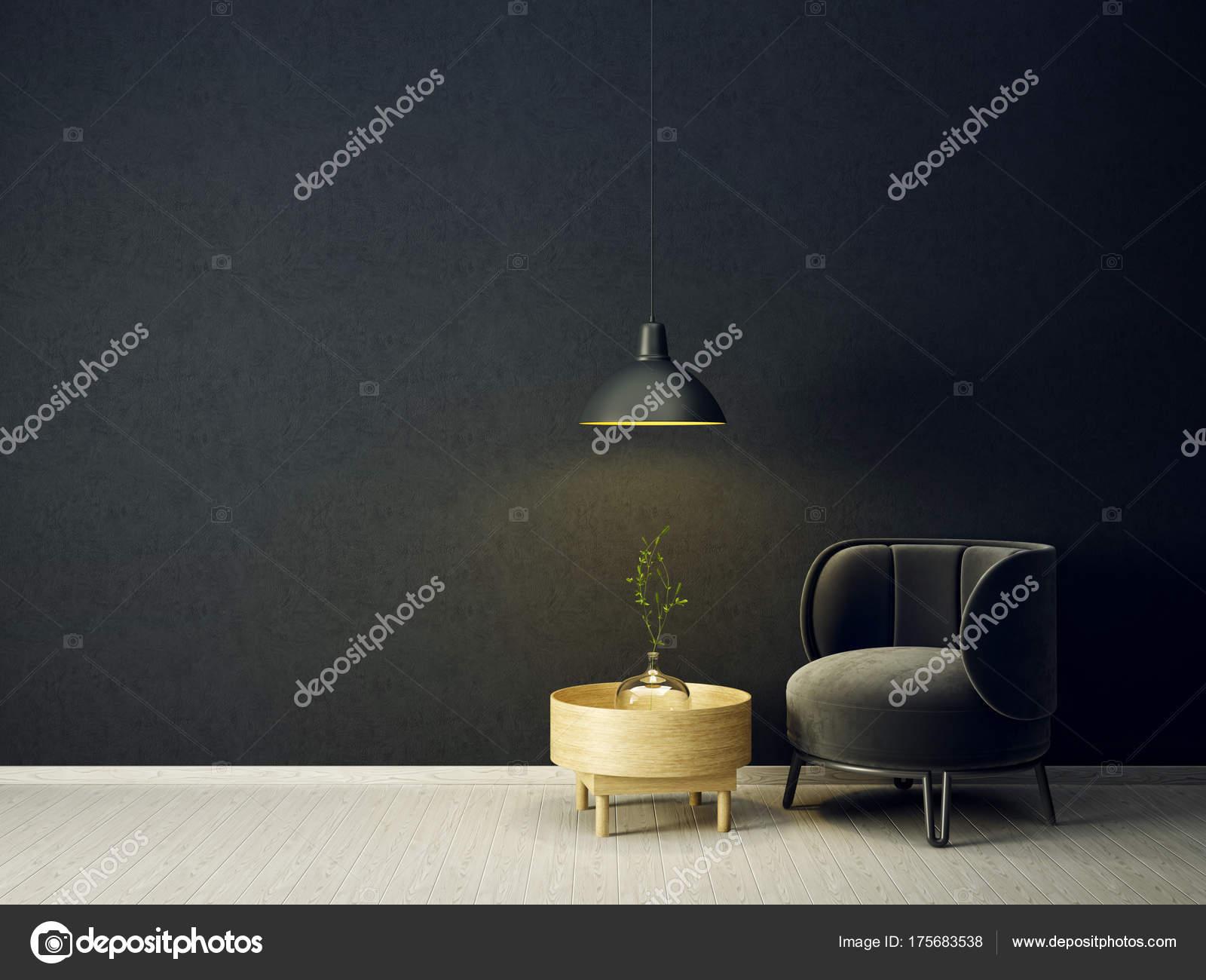 Modernes Wohnzimmer Mit Schwarzen Sessel Und Lampe Skandinavische  Innenarchitektur Möbel U2014 Stockfoto