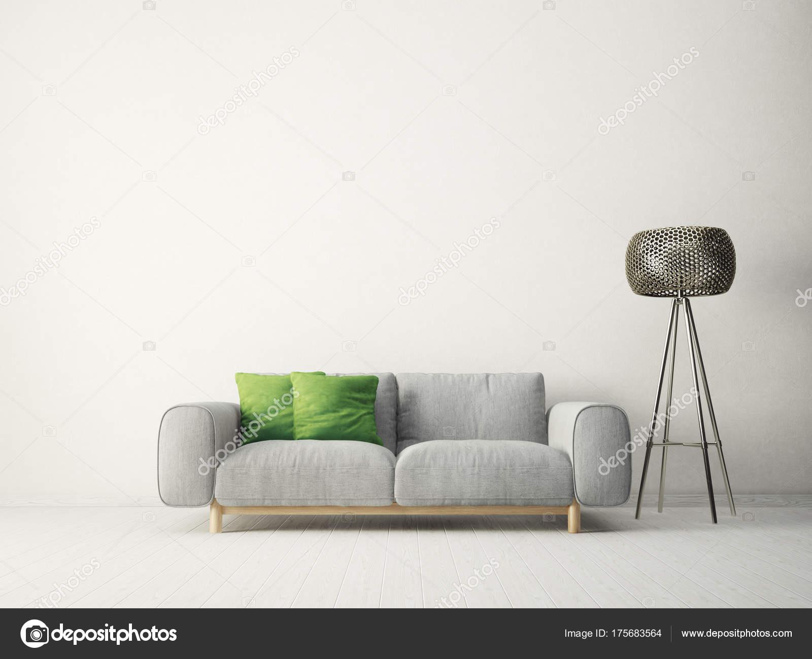 Modernes Wohnzimmer Mit Sofa Grünen Kissen Und Lampe Skandinavische  Innenarchitektur U2014 Stockfoto