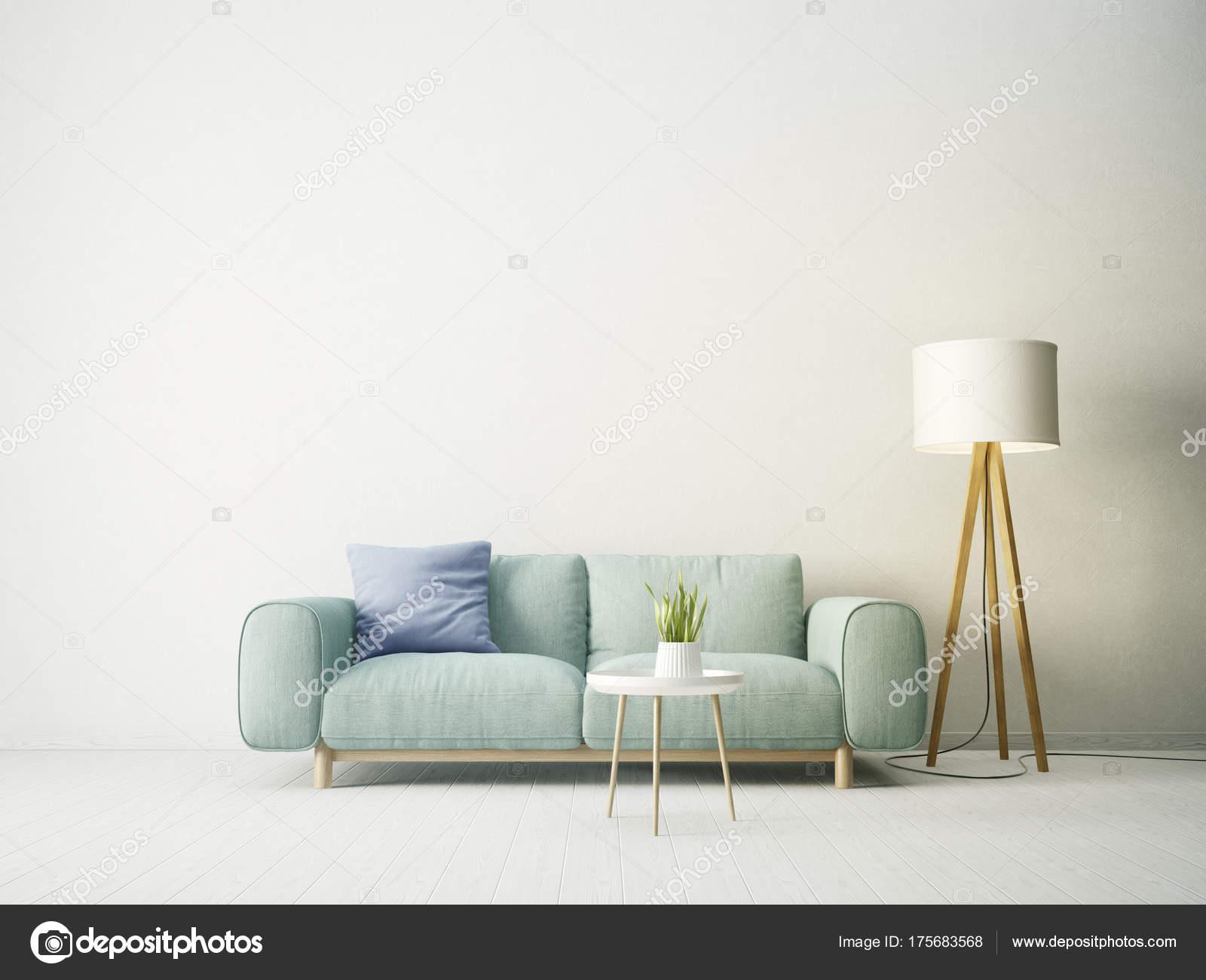 Lampen Scandinavisch Interieur : Moderne woonkamer met sofa blauw kussen lamp scandinavisch