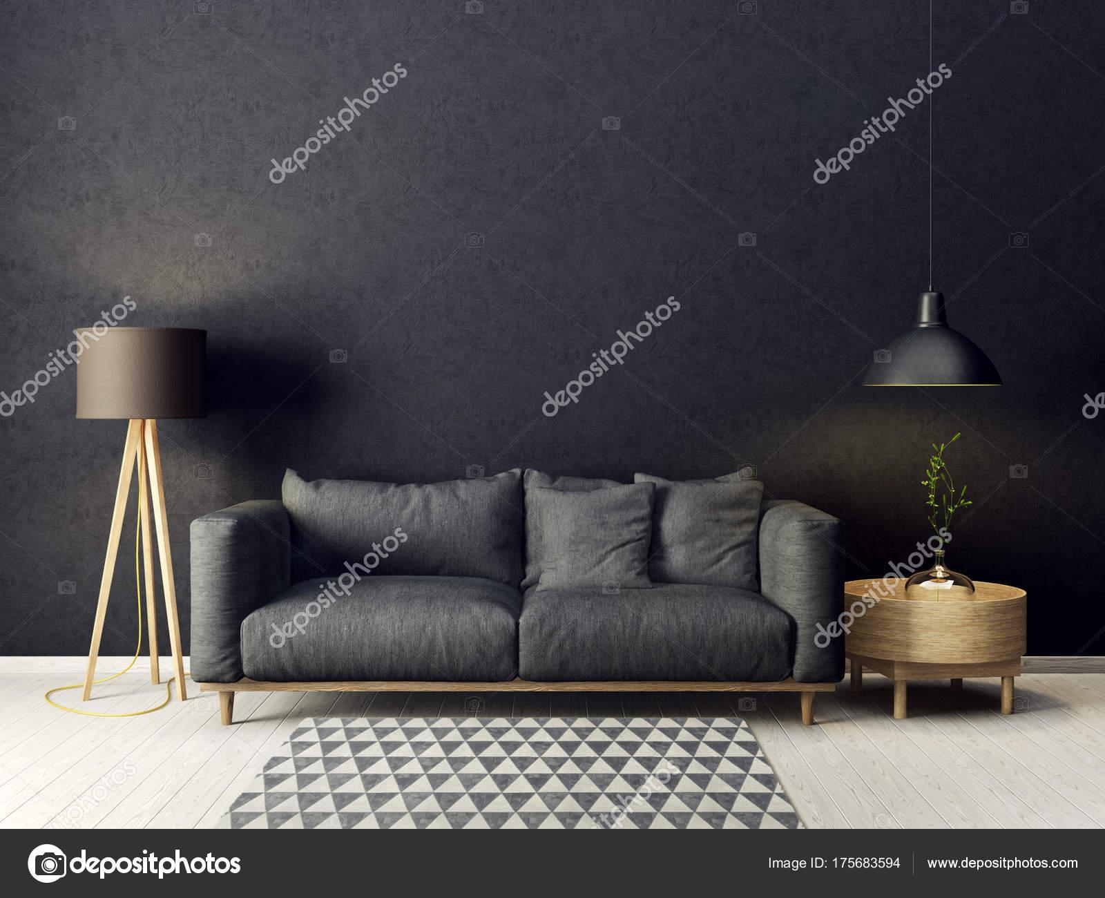 Lampen Scandinavisch Interieur : Moderne woonkamer met grijze bank lamp scandinavisch interieur