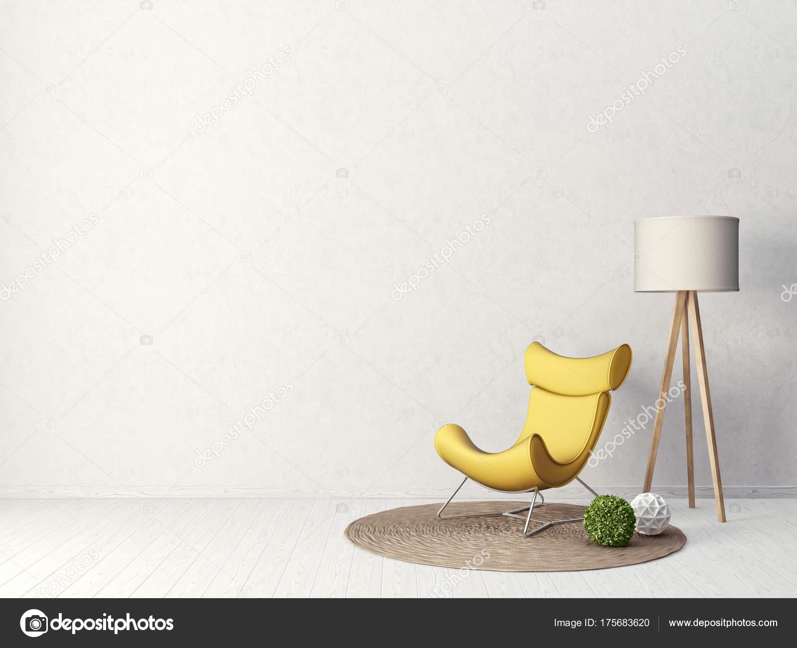 Moderno Sal N Con Sill N Amarillo L Mpara Muebles Dise O