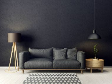 modern living room with grey sofa and lamp. scandinavian interior design furniture. 3d render illustration