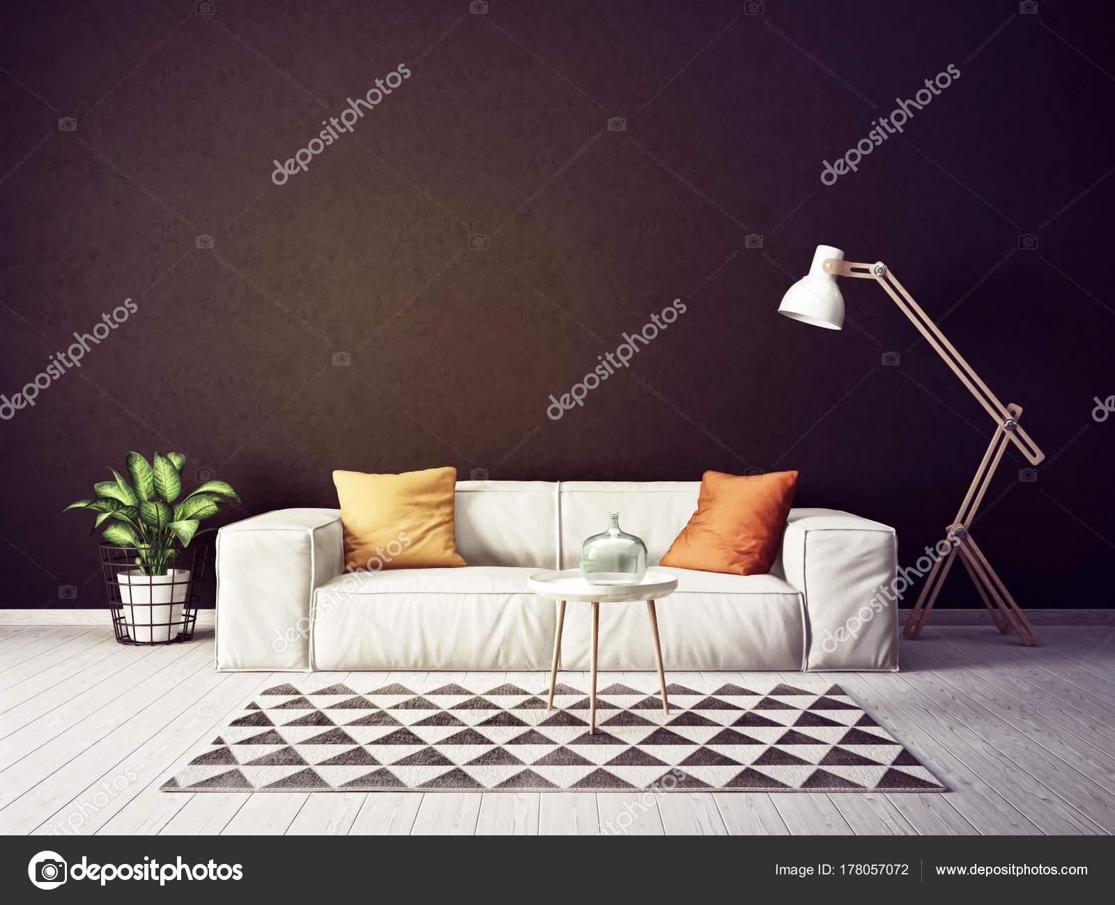 Modernes Wohnzimmer Mit Sofa Und Lampe Skandinavische Innenarchitektur  Möbel Render U2014 Stockfoto