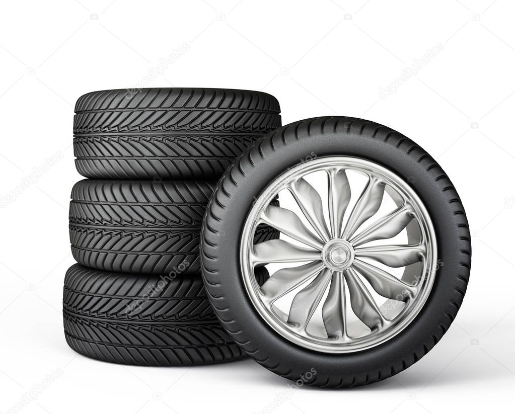 car wheels isolated on a white. 3d illustration