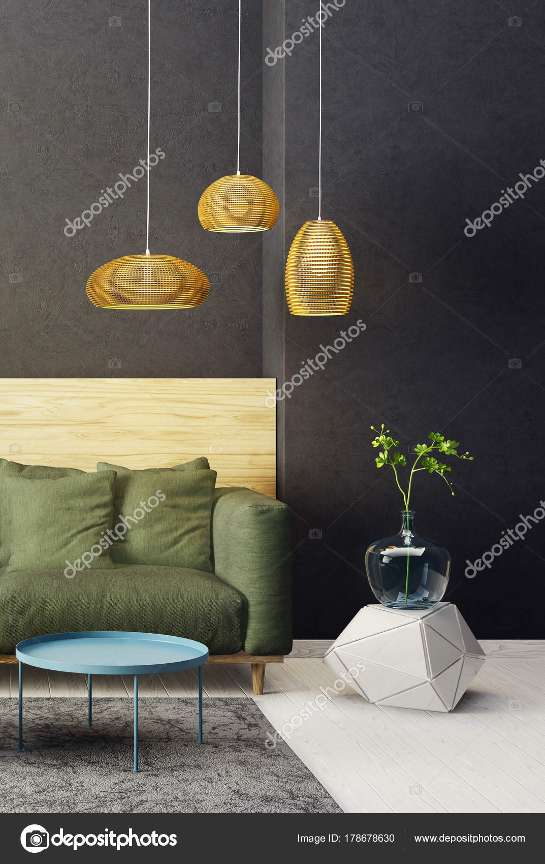 Modernes Wohnzimmer Mit Grunen Sofa Und Lampe Skandinavische