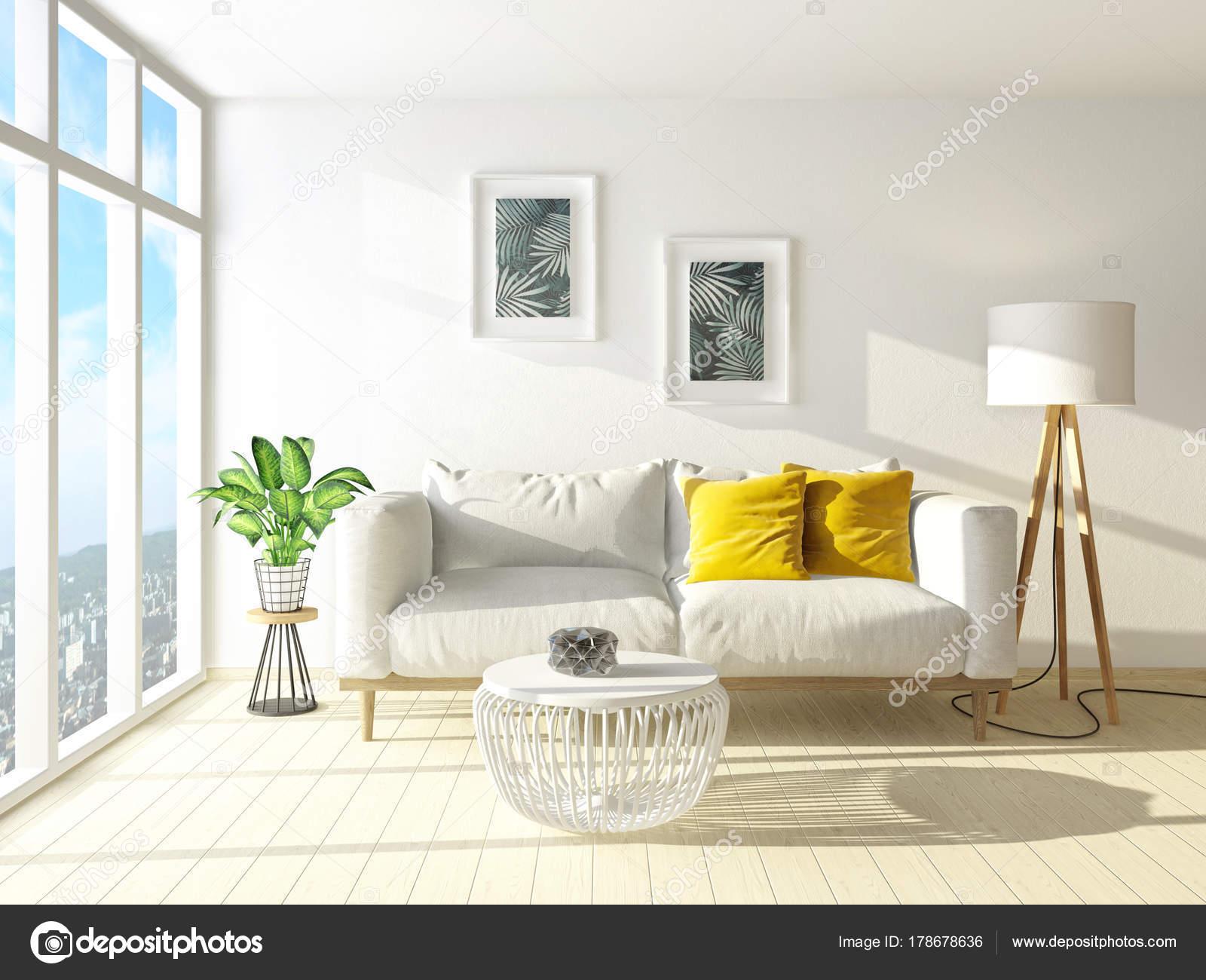 Moderne Woonkamer Met Sofa Lamp Scandinavisch Interieur Design ...
