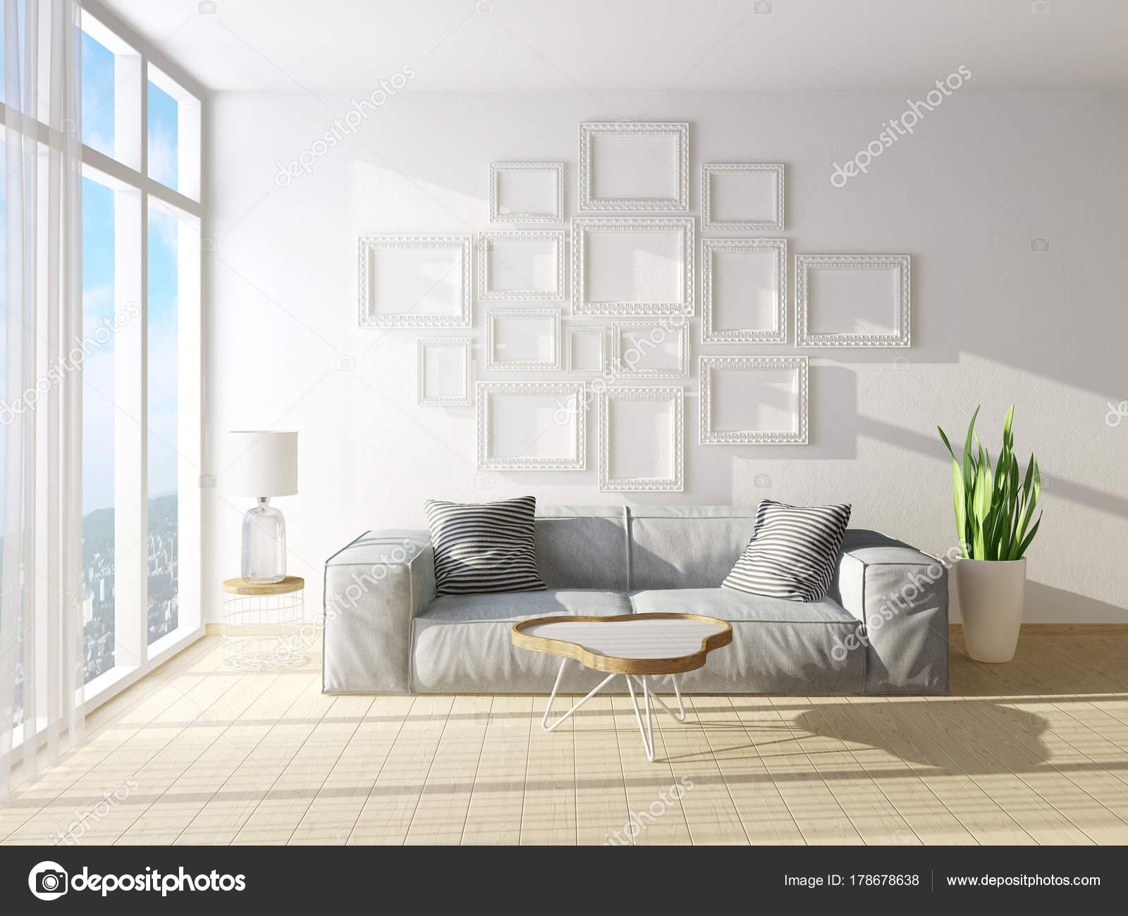 Modernes Wohnzimmer Mit Sofa Und Große Fenster ...