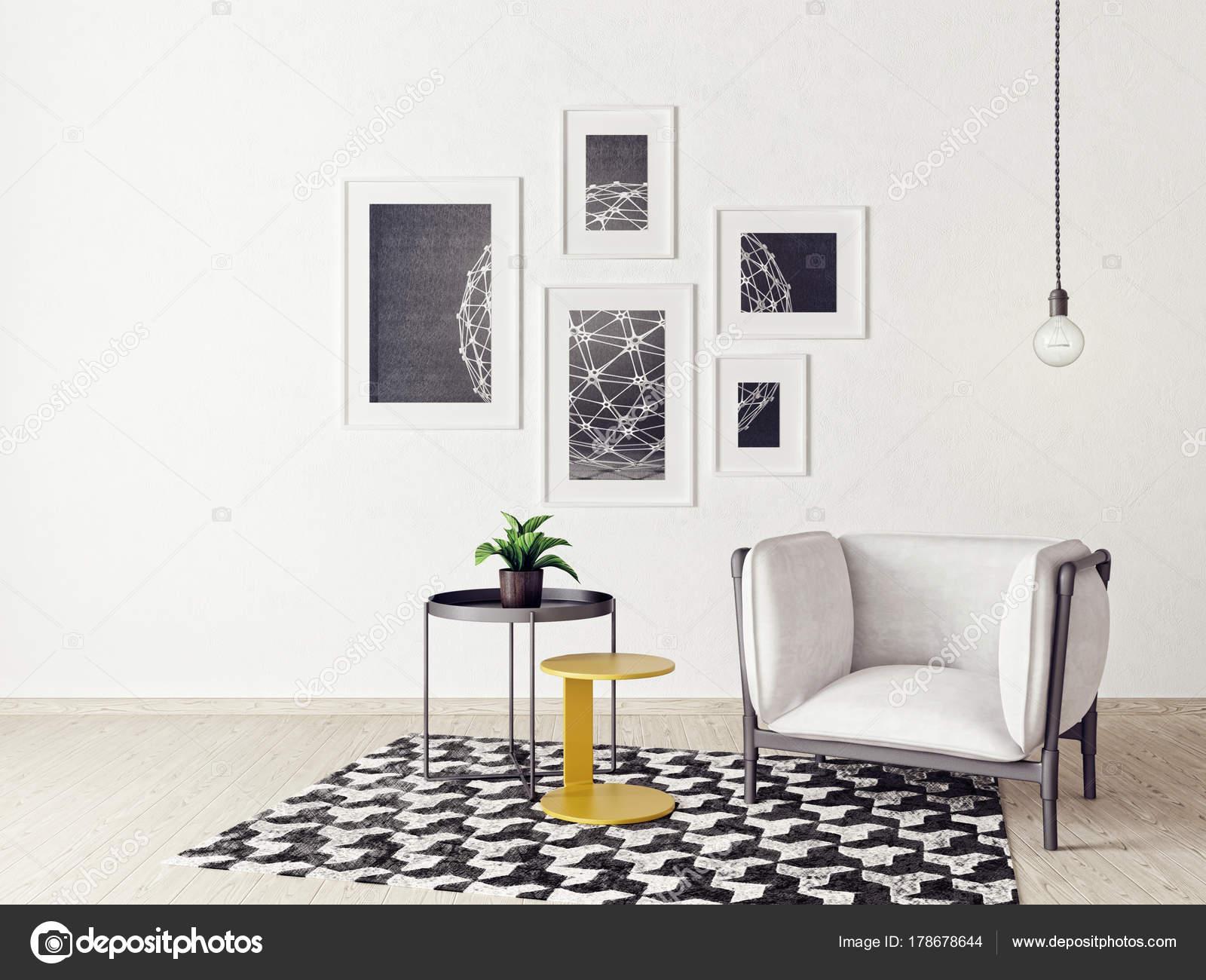 Moderne Woonkamer Met Fauteuil Tapijt Scandinavisch Interieur Design ...