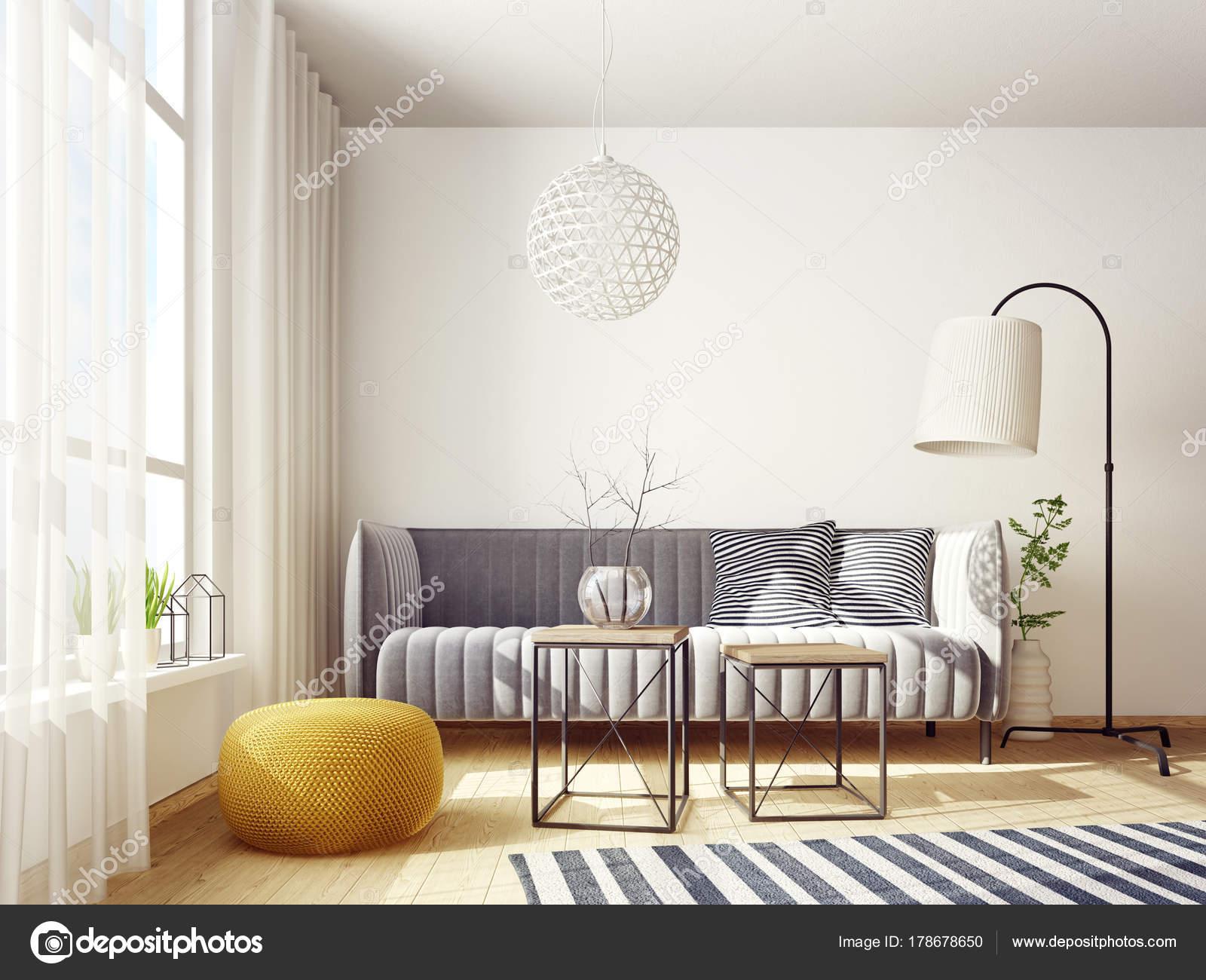 Modernes Wohnzimmer Mit Sofa Und Lampe Skandinavischeinnen ...