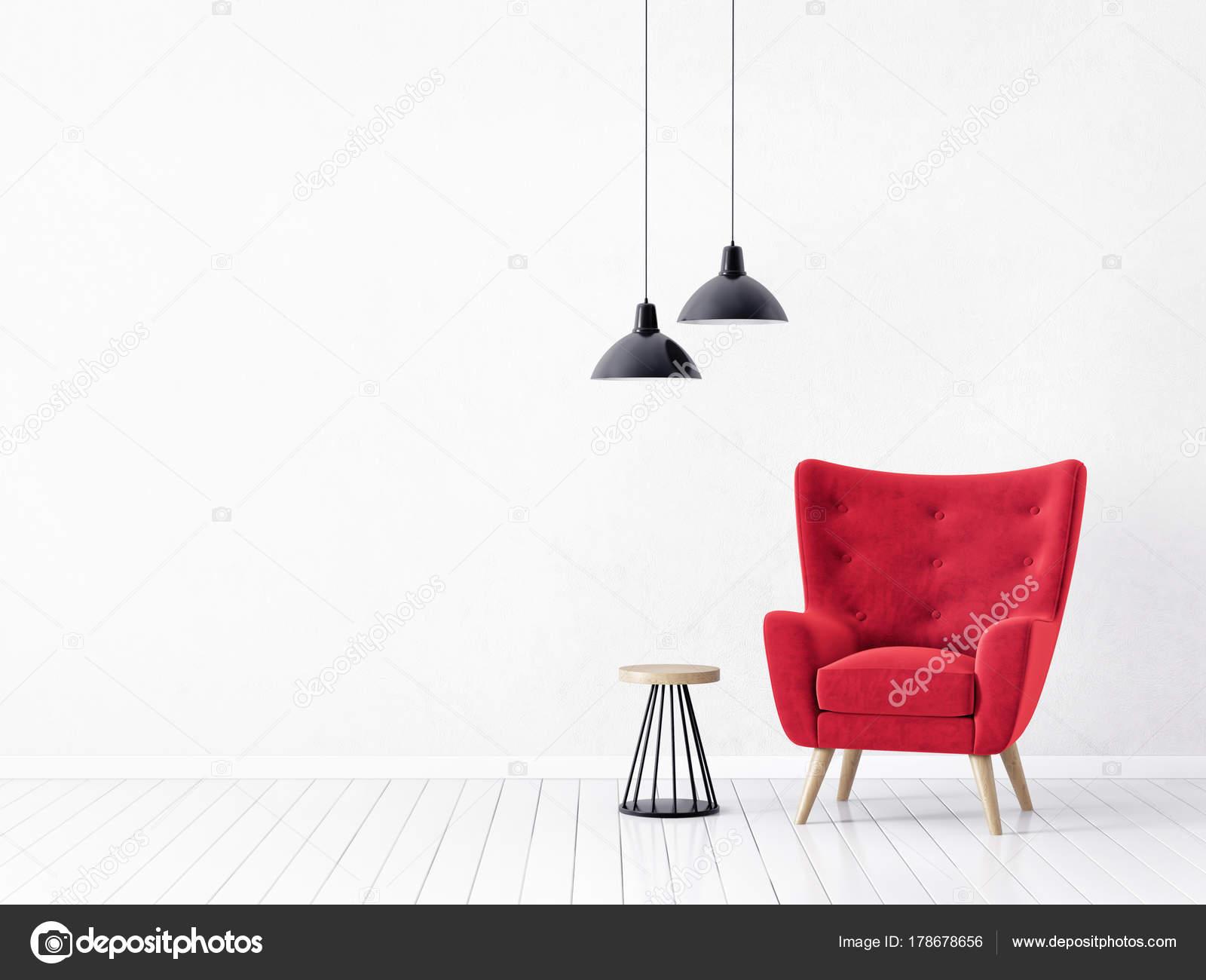 Design Woonkamer Lampen : Moderne woonkamer met rode fauteuil lampen scandinavisch interieur