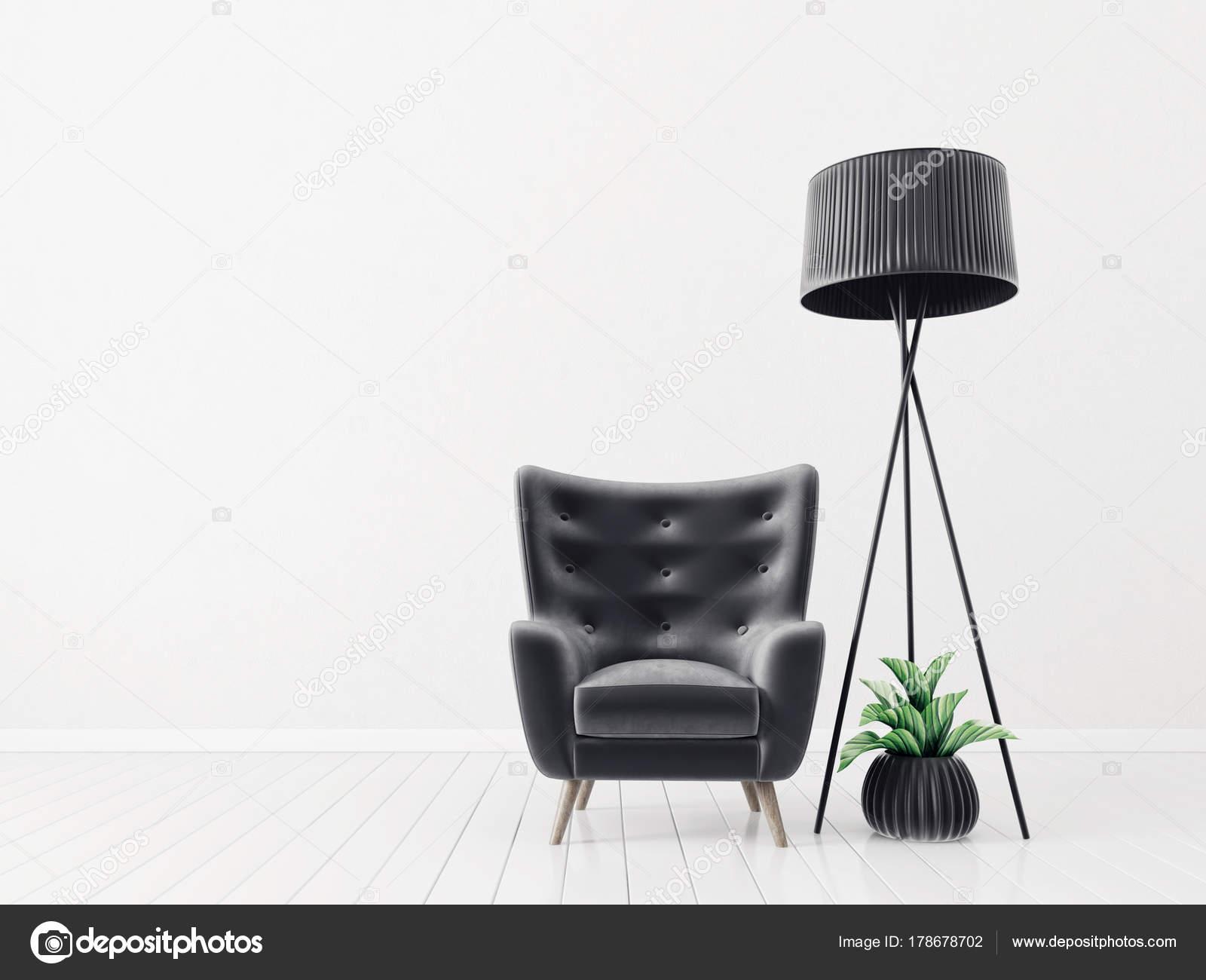 Modernes Wohnzimmer Mit Schwarzen Sessel Und Stehleuchte. Skandinavische  Innenarchitektur Möbel. 3D Render Illustration U2014 Foto Von Alexroz