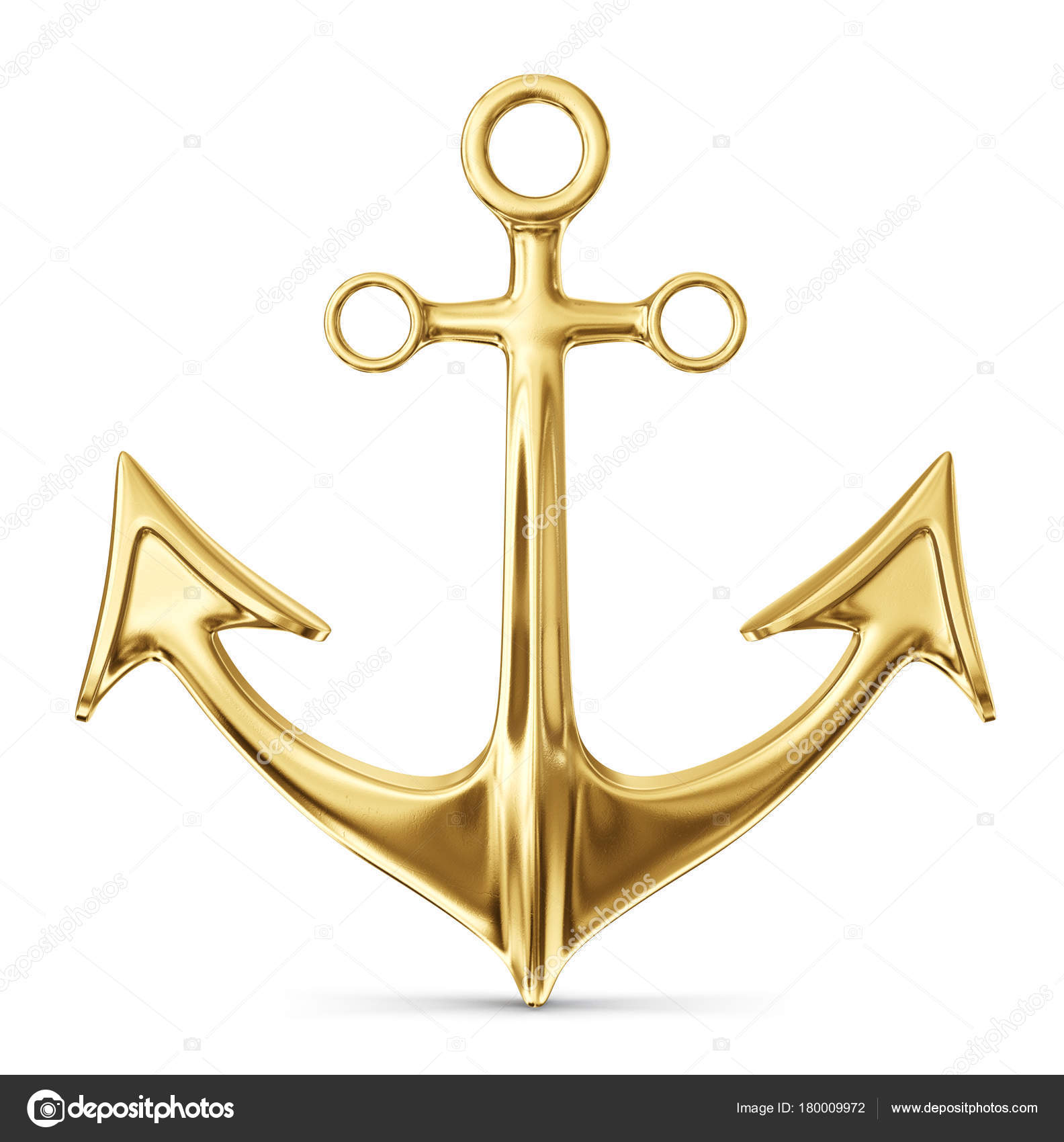 Gold Anchor Isolated White Background Illustration Stock Photo