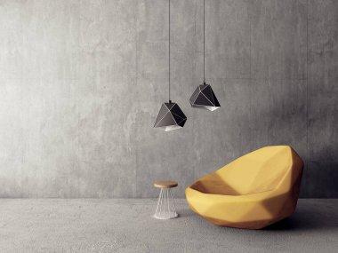 modern living room  with armchair. scandinavian interior design