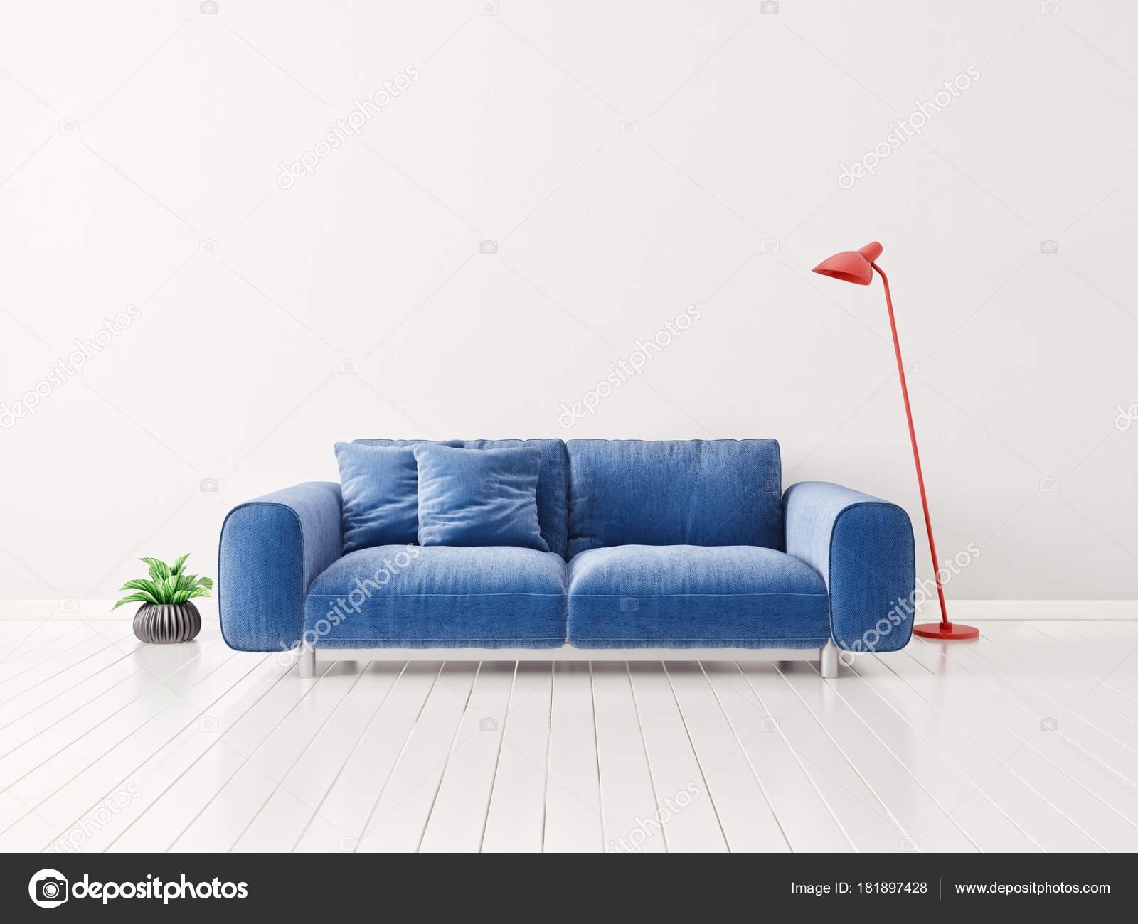 Modernes Wohnzimmer Mit Blauem Sofa Werk Vase Und Rote Lampe