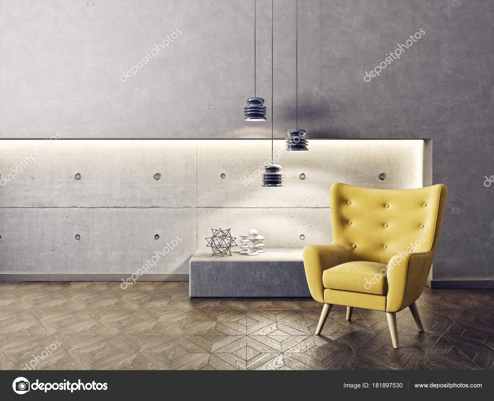 Lampade A Sospensione Design : Salone moderno con poltrona gialla lampade sospensione design