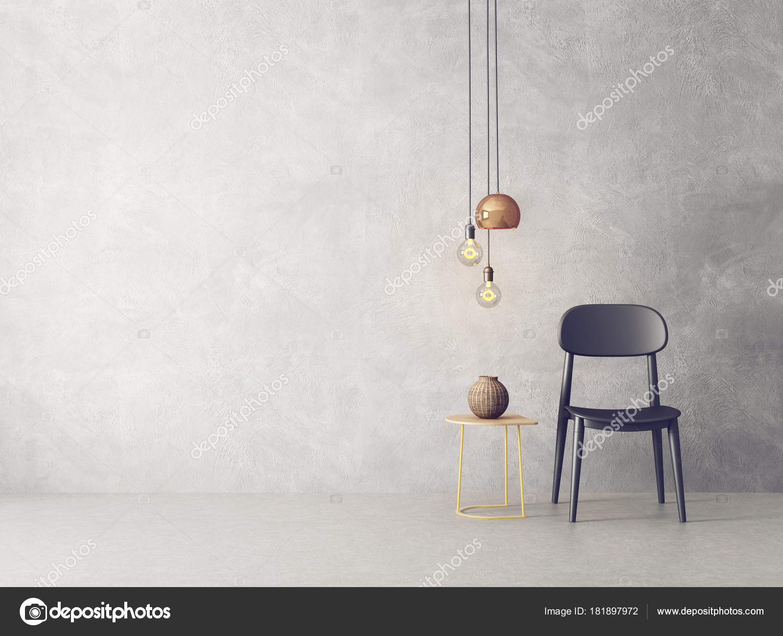 Modern Living Room Black Chair Hanging Lamps Vase Table Scandinavian ...