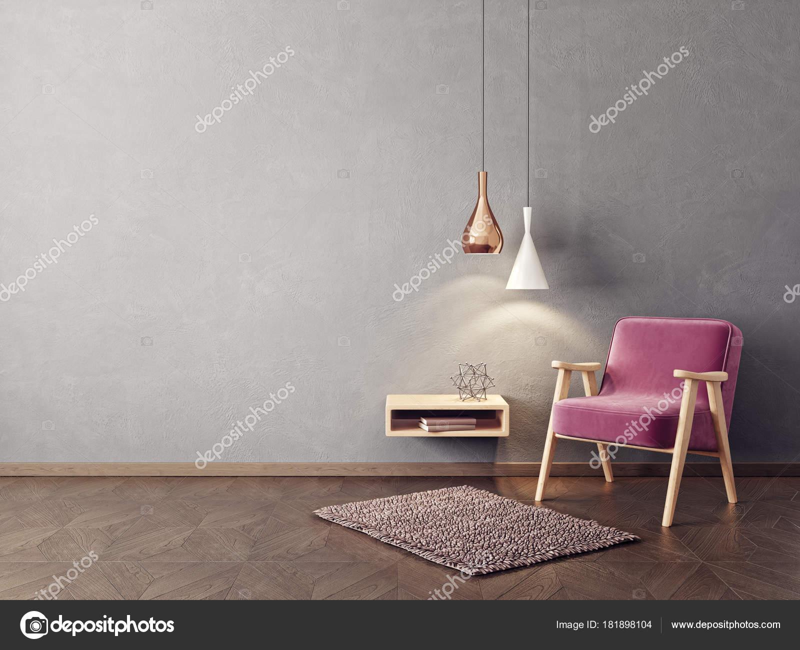 Modernes wohnzimmer mit sessel hängelampen und regal wand