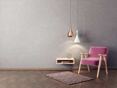Modern living room with armchair, hanging lamps and shelf on wall in scandinavian interior design