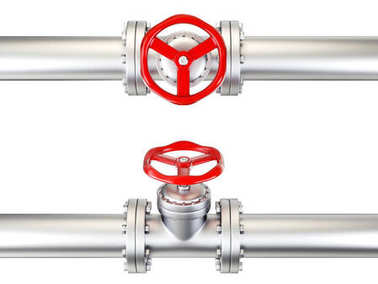 Valves in pipes, isolated on white.