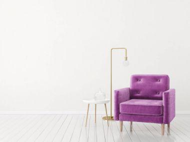 Modern minimalistic living room with armchair. Scandinavian interior design furniture. stock vector