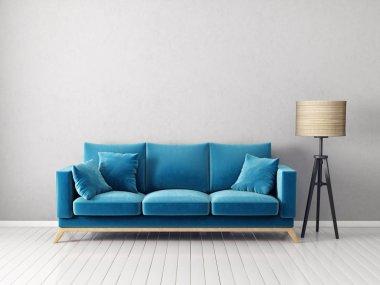 Modern minimalistic living room with armchair. Scandinavian interior design furniture.