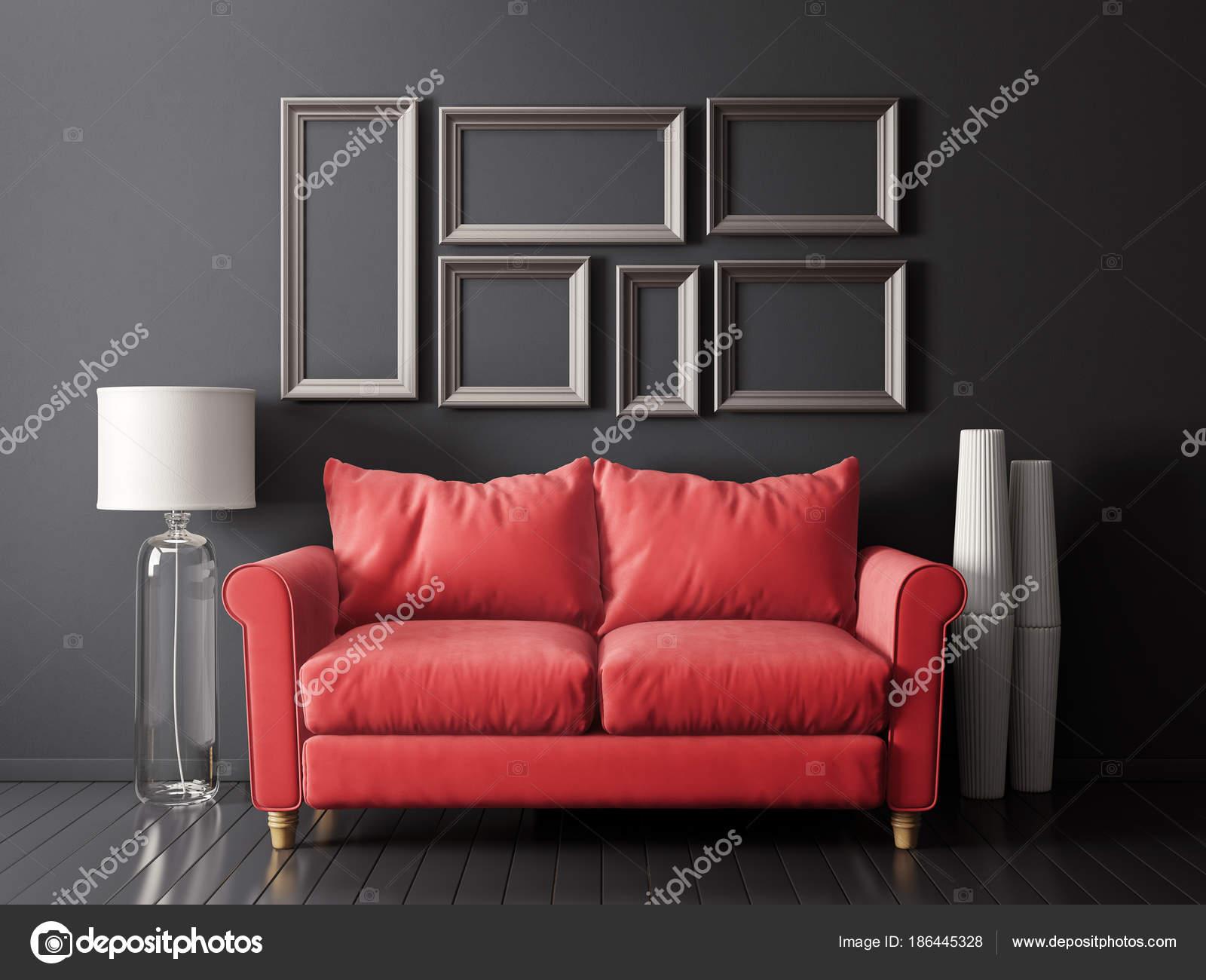 Modern Living Room Red Sofa Lamp Scandinavian Interior Design