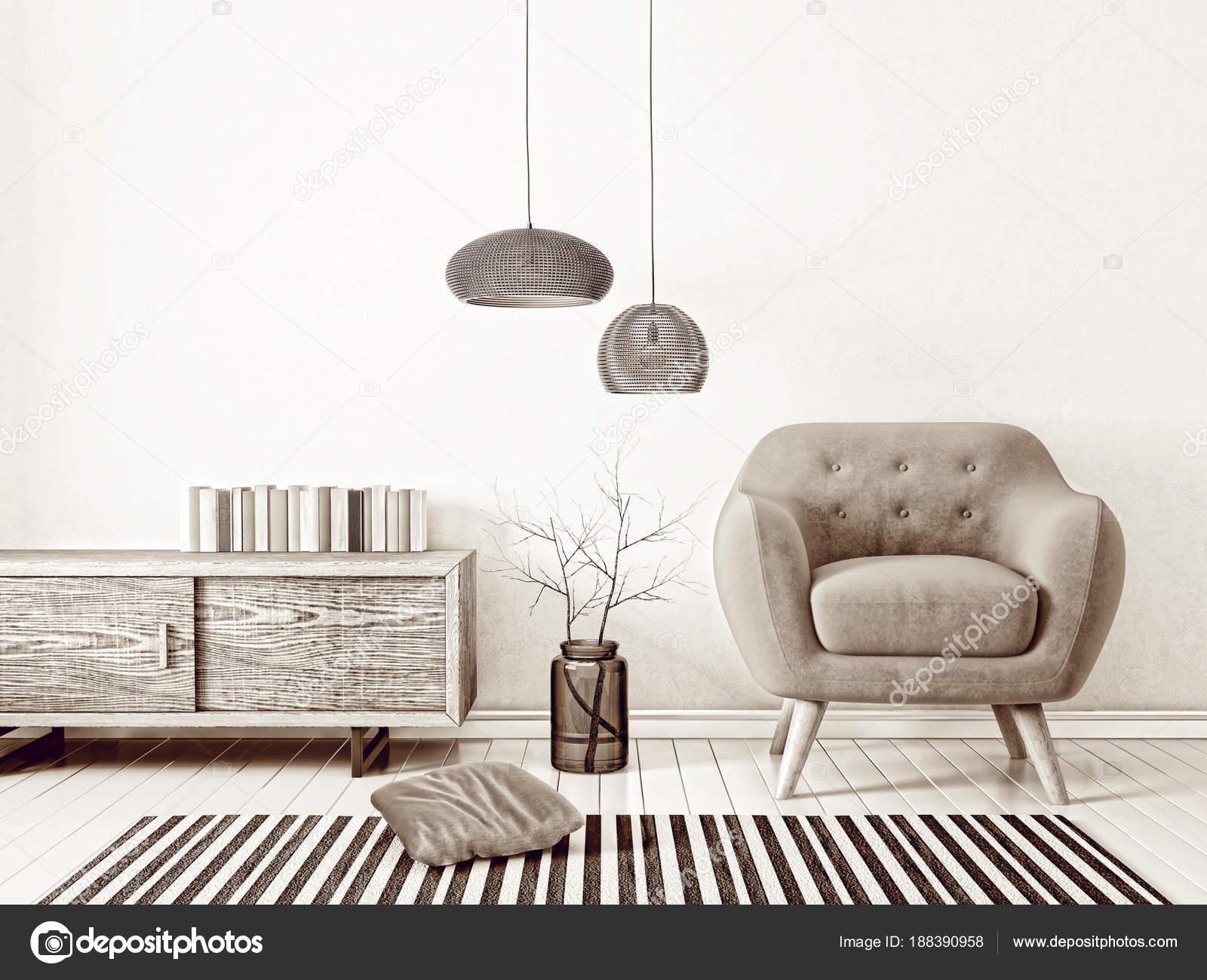 Scandinavisch Design Meubelen : Scandinavisch interieur design meubels render illustratie