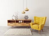 moderní obývací pokoj s žluté křeslo. Skandinávský design interiéru nábytek