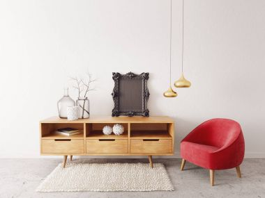 modern living room  with red armchair and lamp. scandinavian interior design furniture