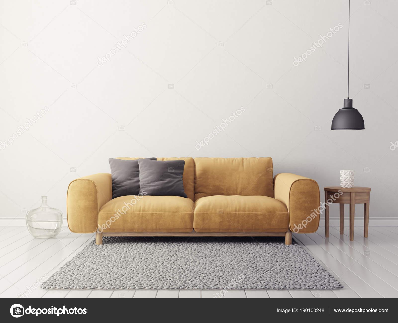 Modern Living Room Yellow Sofa Scandinavian Interior Design ...