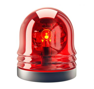red siren isolated on a white background. 3d illustration