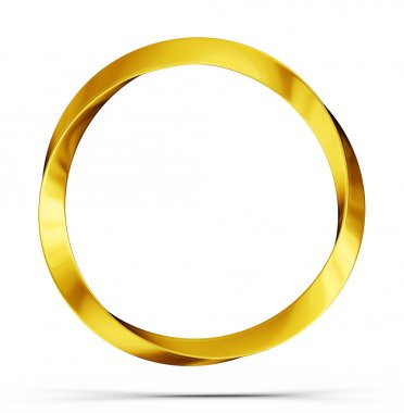 Golden ring isolated on a white. 3d illustration stock vector