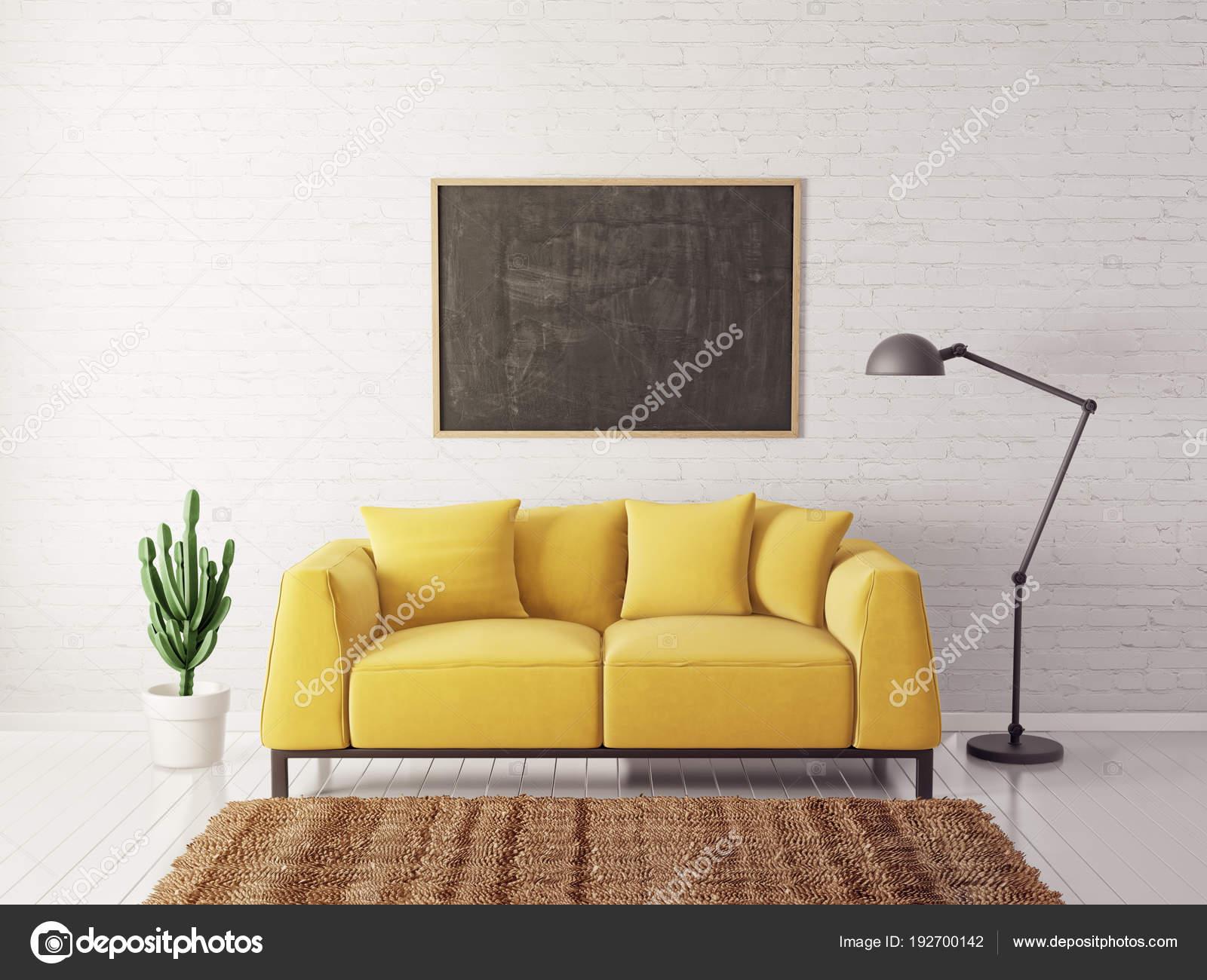 Modern Living Room Yellow Sofa Lamp Scandinavian Interior ...