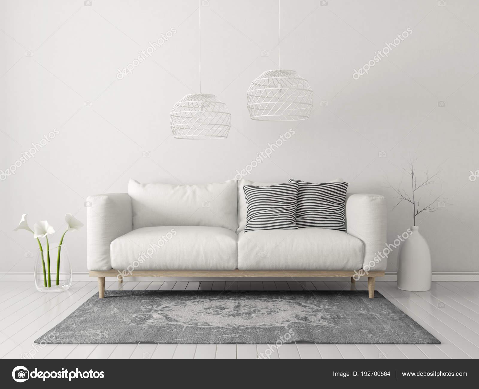 Lampen Scandinavisch Interieur : Moderne woonkamer met witte bank lamp scandinavisch interieur