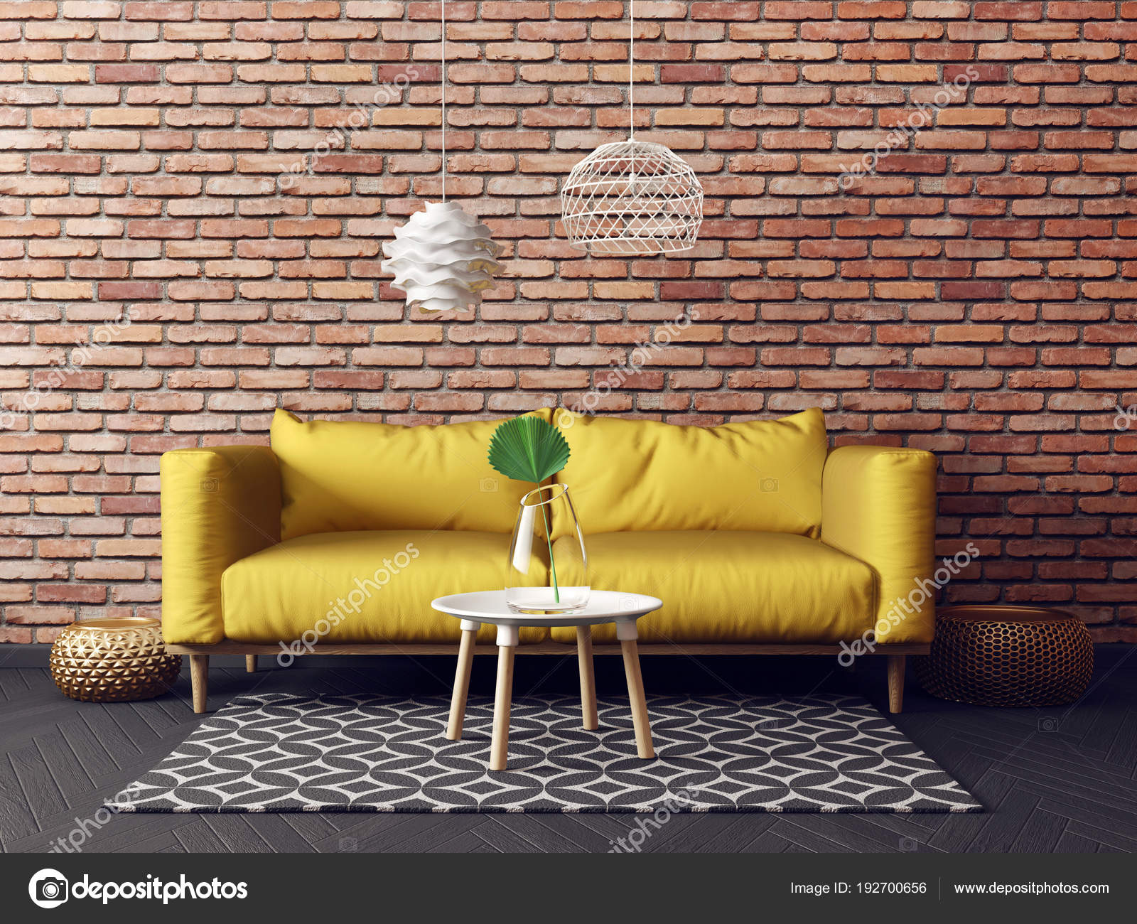 Modern living room yellow sofa lamp scandinavian interior design furniture stock photo