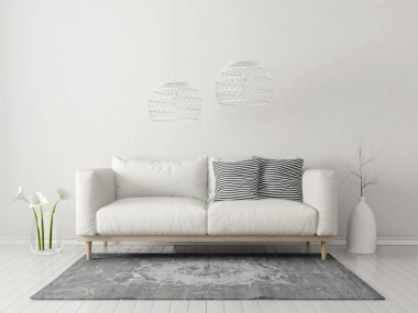 modern living room  with white sofa and lamp. scandinavian interior design furniture. 3d render illustration