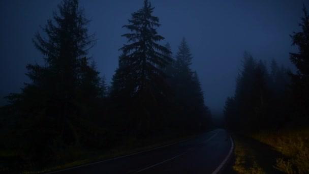 Mlžné horské lesní cesta jízdy. Auto na dálnici