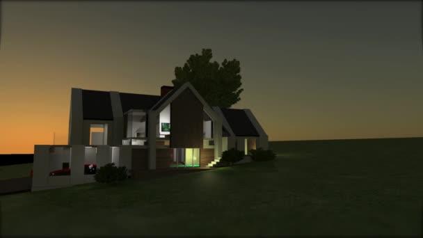 3D-Modell-Visualisierung des modernen modernen Hauses. Leichte Kamerafahrten. 3D-Animation zum Rendern