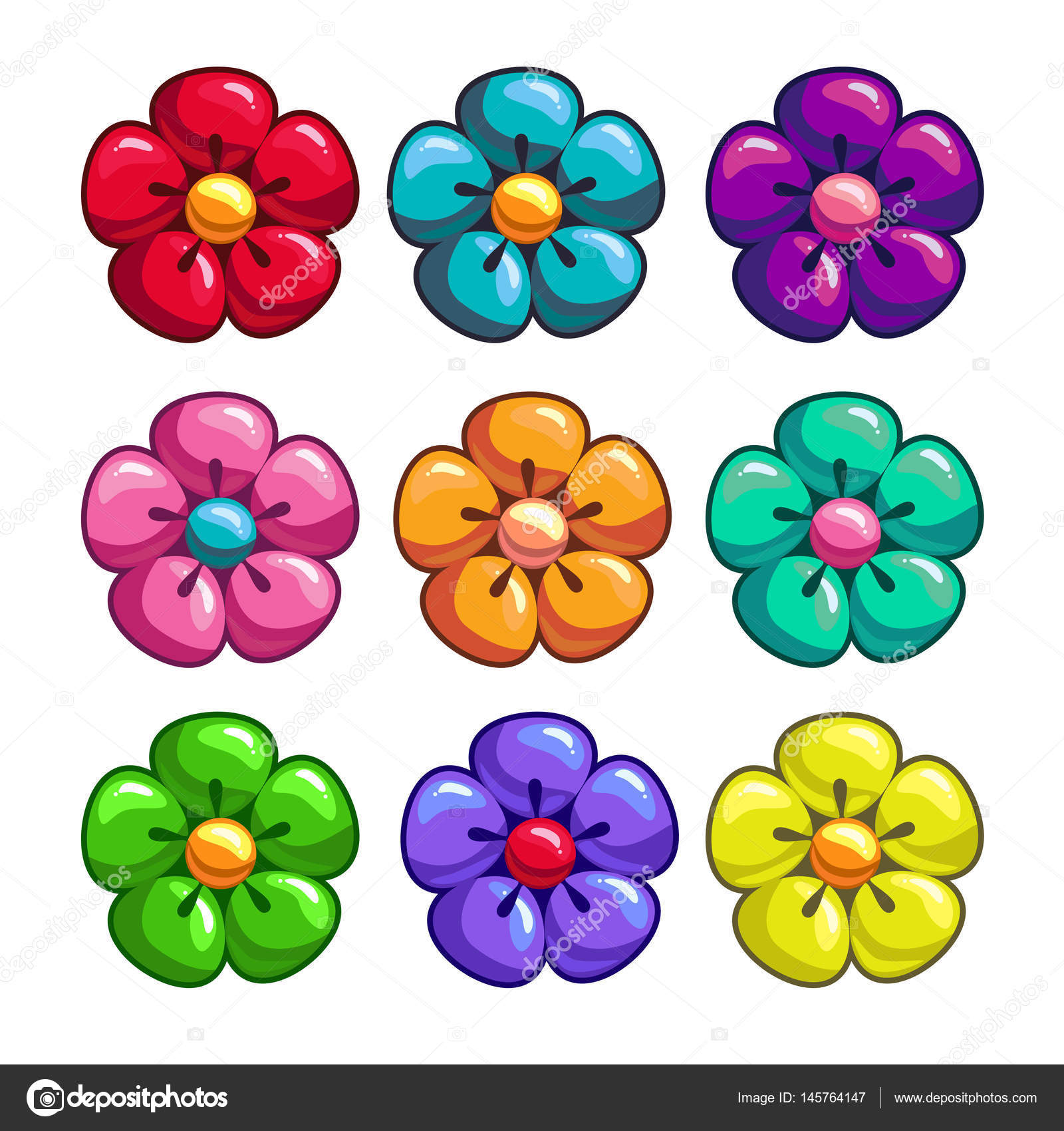 A Set Of Colored Flowers Stock Vector C Bodanochka 145764147