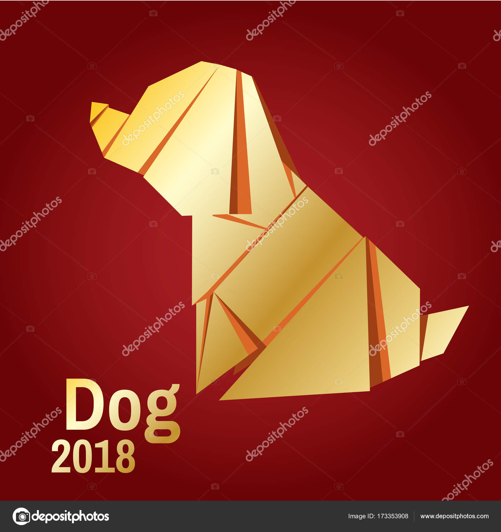 Illustration Of A Golden Origami Dog Stock Vector Bodanochka Diagram Christmas Card In The Style Minimalism Year Stylized Geometric Model Polygonal By