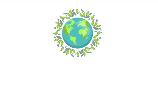Save the Planet. Motion graphic flat animation footage. World Concept. World environment day. ecology friendly. A earth globe with leaves. Lettering. logo. Concept of energy saving, ecology.