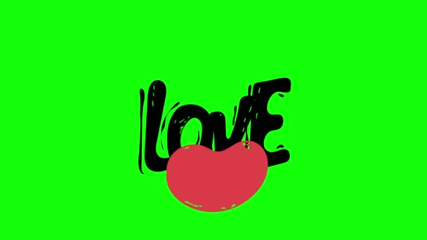 zelená obrazovka. Miluju tě. Abstraktní vzorec srdce v flirtování, koncept lásky 4k. Zpověď lásky. Srdce Valentýna. Izolované na bílém pozadí. Pozdravné přání Miluji tě. Animace srdce.