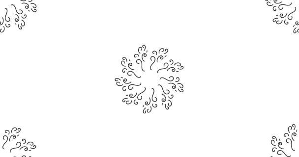 4k Animált kör fekete fehér virágos mandala. minta kézzel rajzolt grafikus videoklip. átmenet vagy intro bármely TV show, hírek vagy film. színpadtervezés, kifutópálya-tervezés vagy mintázattal kapcsolatos projektek esetében.