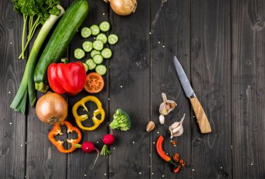 Fresh vegetables and knife