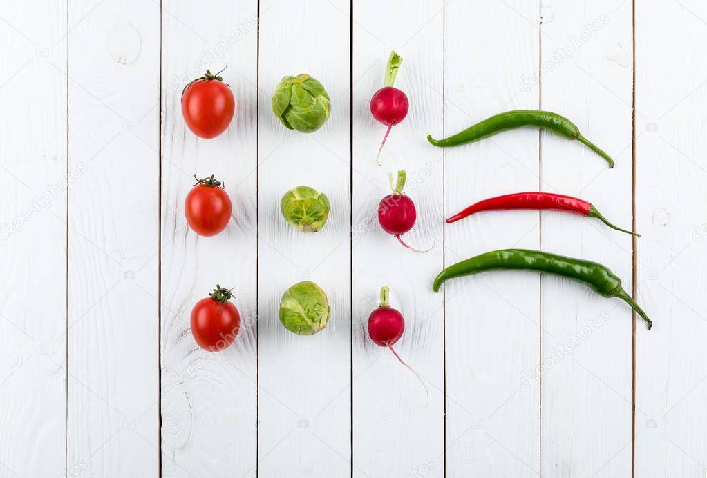 seasonal vegetables in rows