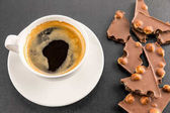 espresso coffee with chocolate