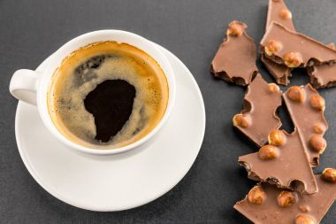 espresso coffee with chocolate