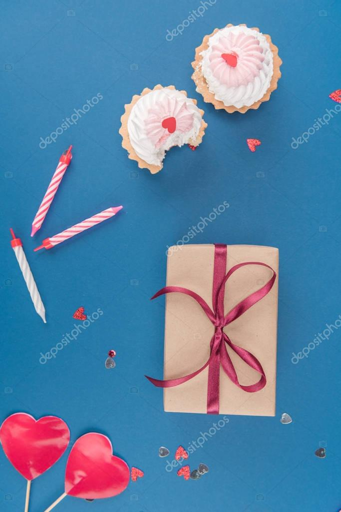 gift box and cakes